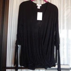 Amelia James Sedona ¾ Sleeve Black Wrap Blouse